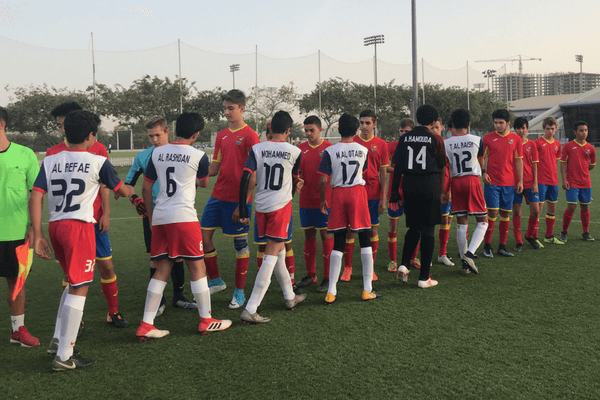 Dubai Football Tournament team handshake