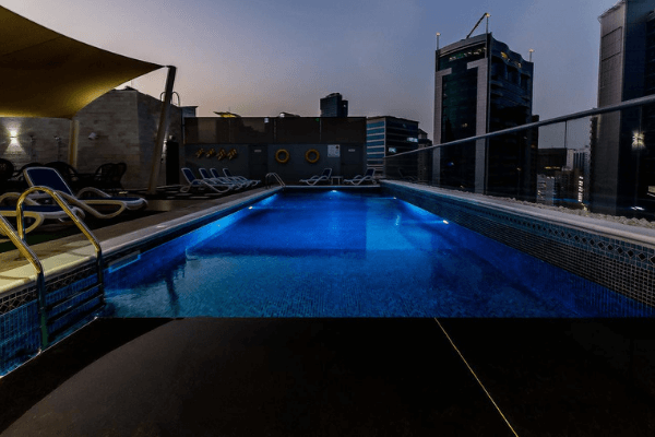 Dubai Football Tournament Hotel rooftop pool